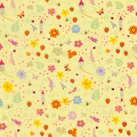Timeless Treasures Fairy Trail Yellow Flowers, Birds, Butterflies Glitter