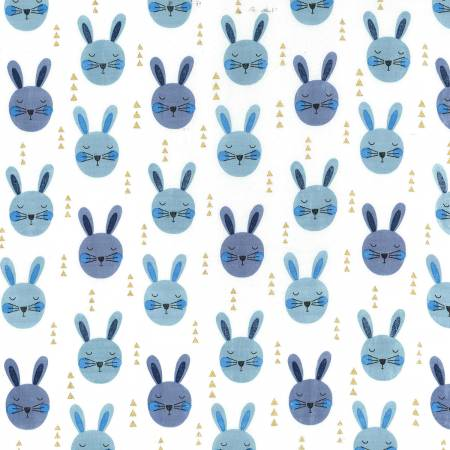 Michael Miller Glitter Critters Blue Ruminating Rabbits Metallic