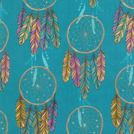 Michael Miller Catching Dreams Turquoise Dream Catchers Metallic