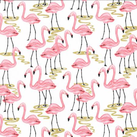 Michael Miller Glitter Critters White Flamingo Bay Metallic