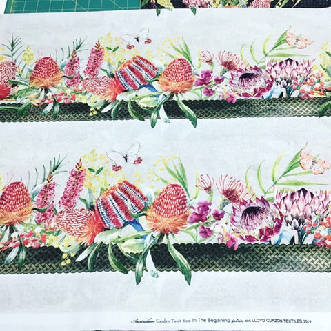 In The Beginning Australian Garden Twist Border Print Cream