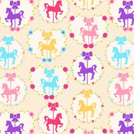 David Textiles  FLANNEL Carousel Horses Cream