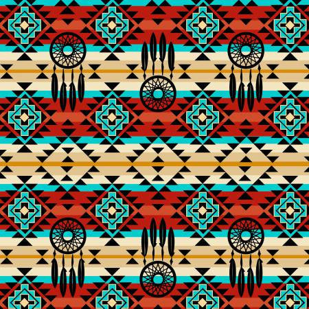 David Textiles Native Spirit Red/Turquoise Native Dream Catcher