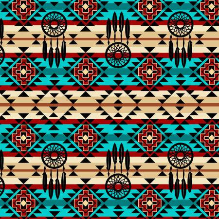 David Textiles Native Spirit Turquoise/Black Native Dream Catcher