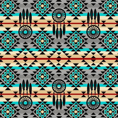 David Textiles Native Spirit Grey/Turquoise Native Dream Catcher