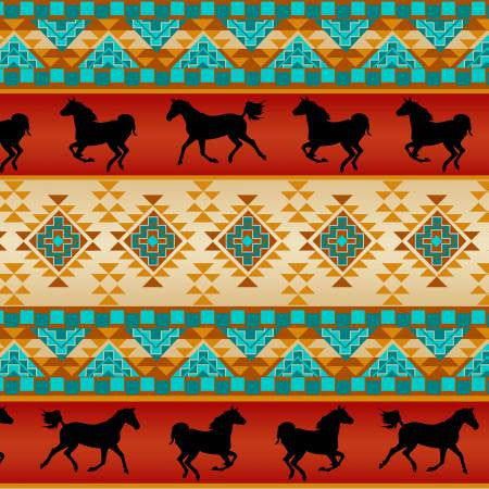 David Textiles Native Spirit Rust/Turquoise Spirit of the Southwest