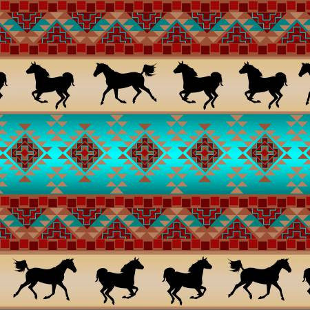 David Textiles Native Spirit Brick/Turquoise Spirit of the Southwest