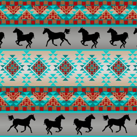 David Textiles Native Spirit Grey/Turquoise Spirit of the Southwest