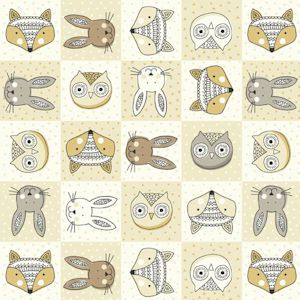 Makower Doodle Days Animal Heads Cream