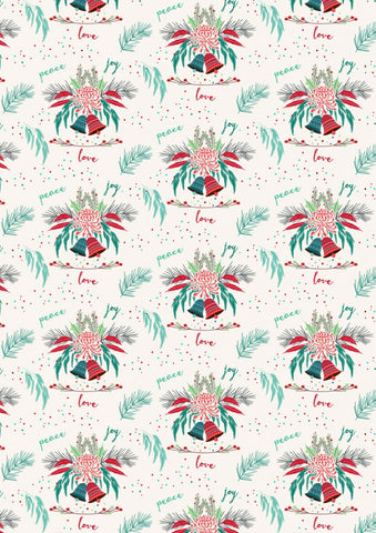 Aussie Christmas by Sew Darling Peace Joy Love Cream FAT QUARTER