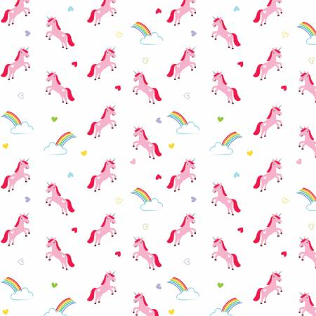 {New Arrival} Riley Blake Designs Designer  FLANNEL Once Upon A Time Unicorns White