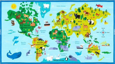 Timeless Treasures Animal Map Panel Blue