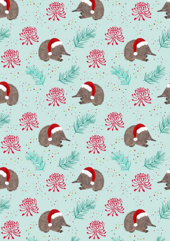 Aussie Christmas by Sew Darling Echidna Christmas Green FAT QUARTER