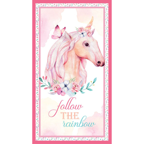 {New Arrival} Devonstone A Magical Time Unicorn Panel Pink
