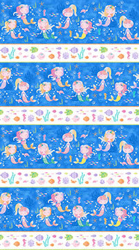 Northcott Mermaid Wishes Stripe Border Print Glitter