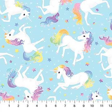 Northcott Unicorn Magic Aqua Unicorns GLITTER