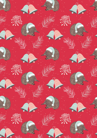 Aussie Christmas by Sew Darling Echidna Christmas Red FAT QUARTER