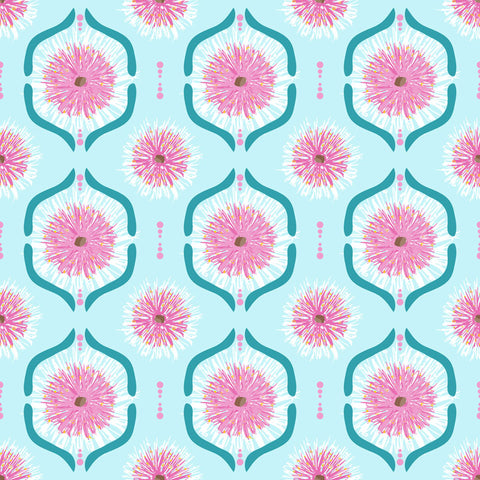 Annette Winter Sweet Botanicals Gumnut Flowers Tile Light Blue