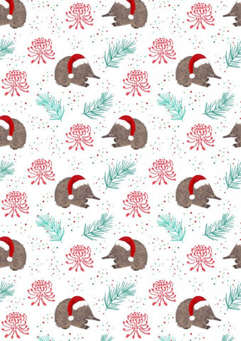 Aussie Christmas by Sew Darling Echidna Christmas Cream FAT QUARTER