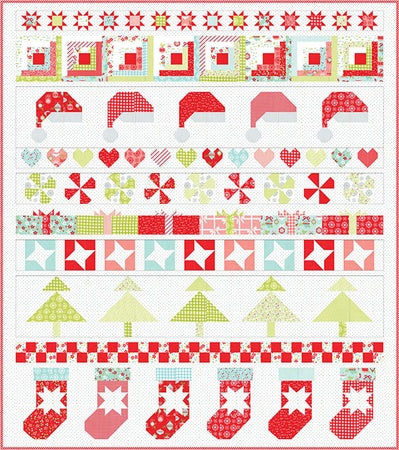 Moda Vintage Holiday Quilt Kit Christmas 78' by 88'