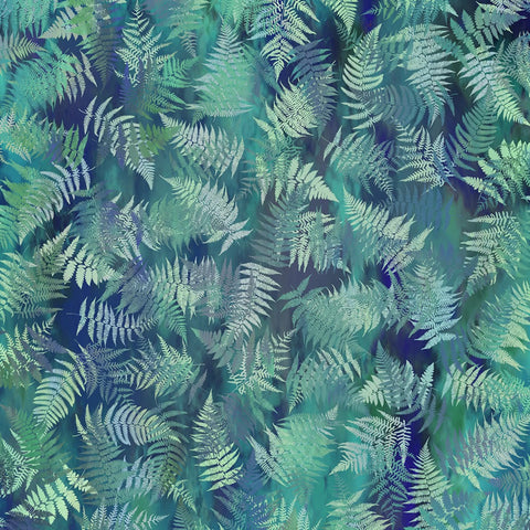 In The Beginning Fabrics Garden of Dreams Dusky Teal Ferns