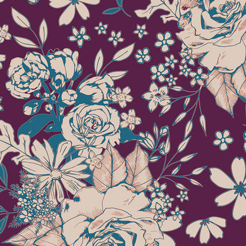 Art Gallery Soulful KNIT Floral Universe Plum