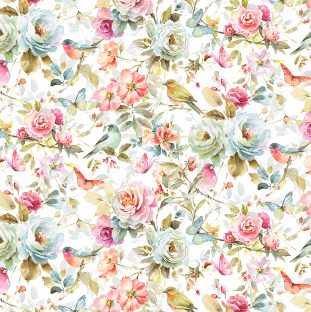 David Textiles Beautiful Romance White/Multi Beautiful Romance