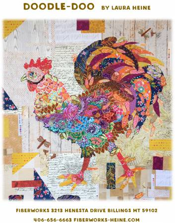 Laura Heine Doodle Doo Rooster Collage Pattern