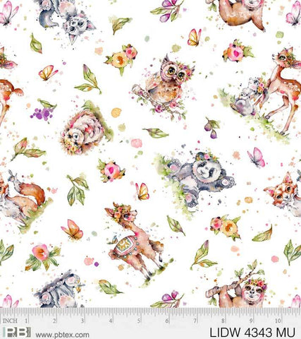 {New Arrival} P &  B Textiles Little Darlings Woodland Animal Toss White