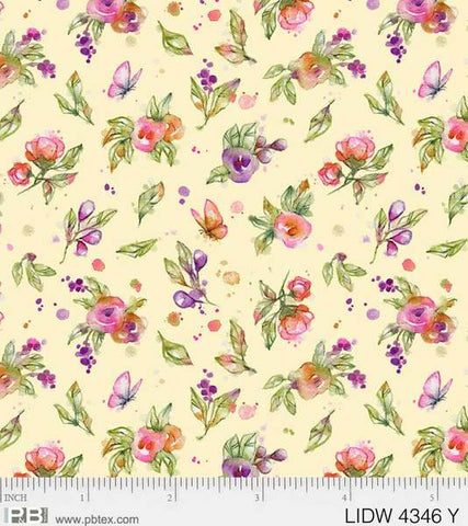 {Pre-Order November} P &  B Textiles Little Darlings Woodland Floral Yellow
