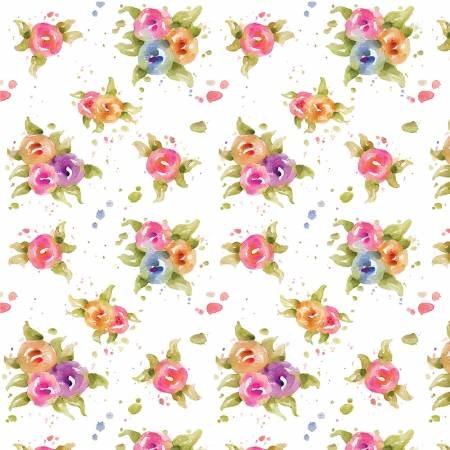 P &  B Textiles Little Darlings Floral White