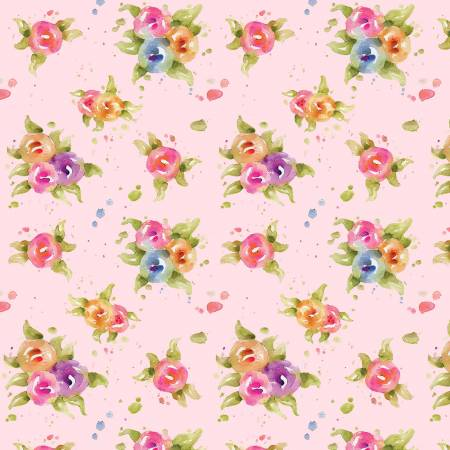P &  B Textiles Little Darlings Floral Pink