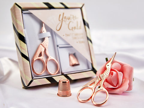 {Pre-Order Late November} Rose Gold Gift Set Stork Scissors with Thimble