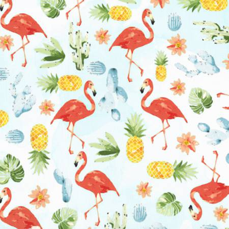 Hoffman Fabrics Summer Punch Flamingo Blue