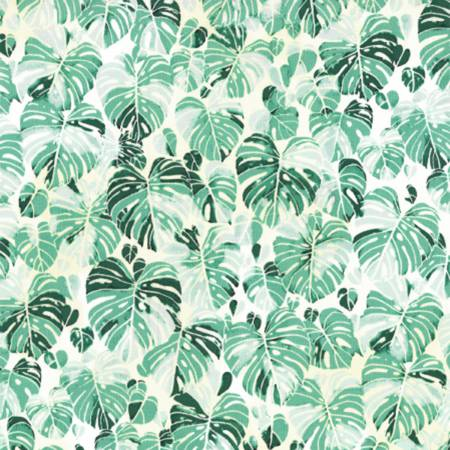 Hoffman Fabrics Summer Punch Spearmint Botanical Leaves