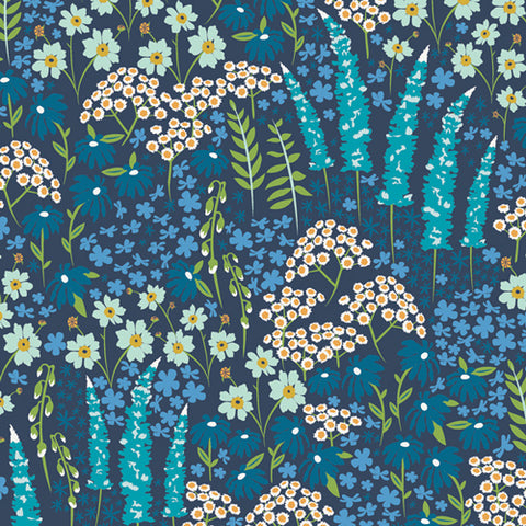 {Pre-Order June} Art Gallery Catch & Release RAYON Blue Bank Flora