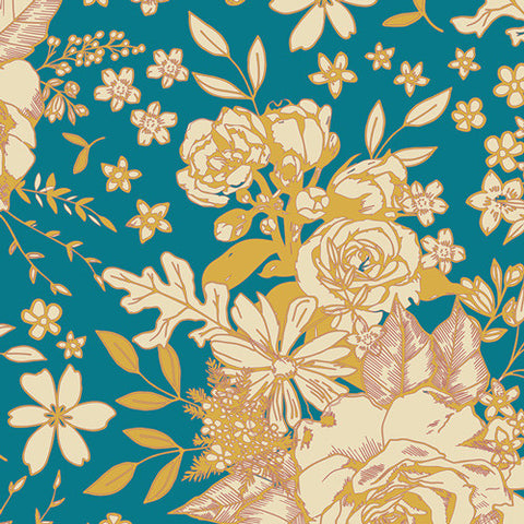 Art Gallery Soulful RAYON Floral Universe Turquoise