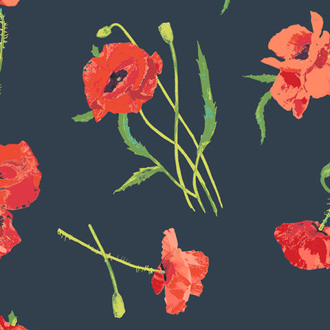 Art Gallery Floralish RAYON Poppy Memories
