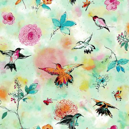 {New Arrival} RJR Bloom Bloom Butterfly Hummingbird Flight - Seafoam Fabric