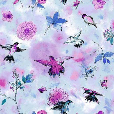 {New Arrival} RJR Bloom Bloom Butterfly Hummingbird Flight - Sky Fabric