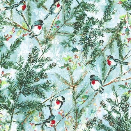 RJR Pineview Digital Chickadee Cheer-Frost Digiprint Fabric