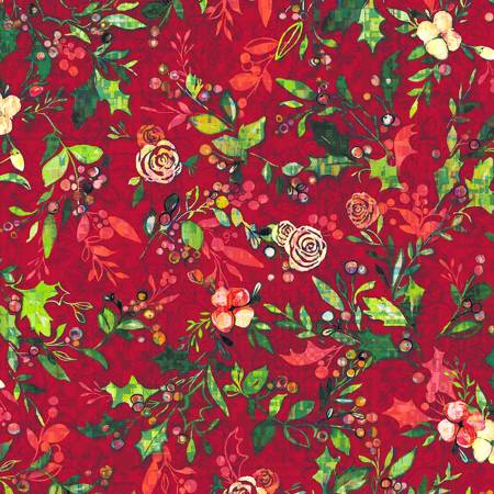 RJR Pineview Digital Festive Flora-Cranberry Digiprint Fabric