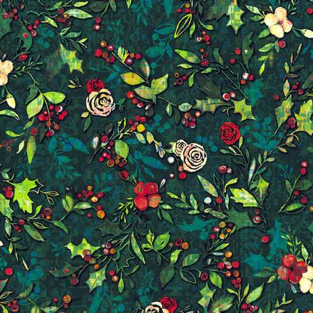 RJR Pineview Digital Festive Flora-Holly Digiprint Fabric