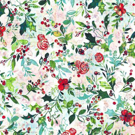 RJR Pineview Digital Festive Flora-Snowflake Digiprint Fabric