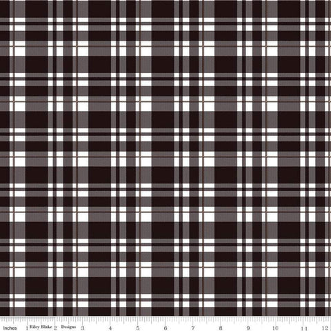 Riley Blake Glam Girl Plaid Black Sparkle Metallic