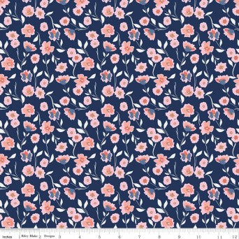 Riley Blake Midnight Rose Floral Navy Sparkle