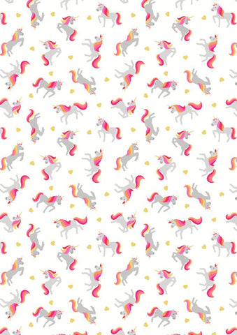 Lewis & Irene Small Things Unicorns on White- Gold Metallic