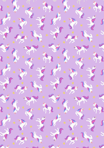 Lewis & Irene Small Things Unicorns on Lavender Gold Metallic