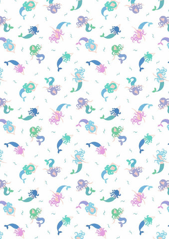 Lewis & Irene Small Things Mermaids on White Blue Metallic