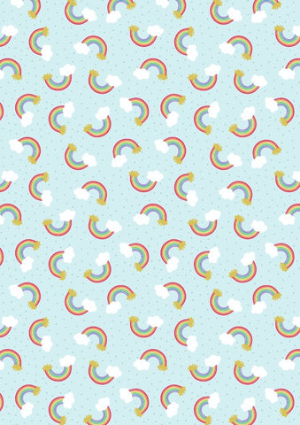 Lewis & Irene Small Things Rainbows in Blue- Gold Metallic